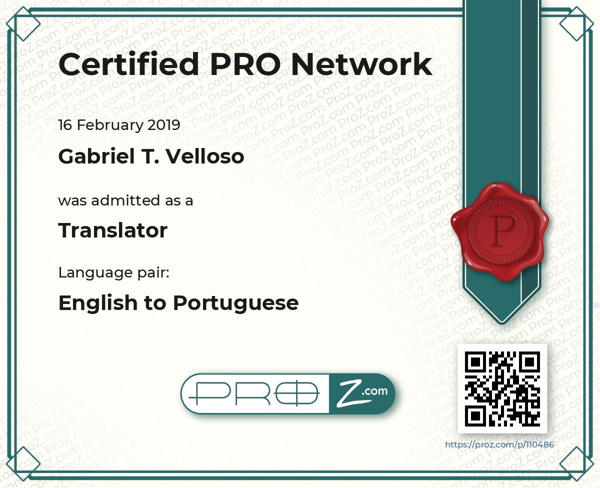 PRO Network Certificate
