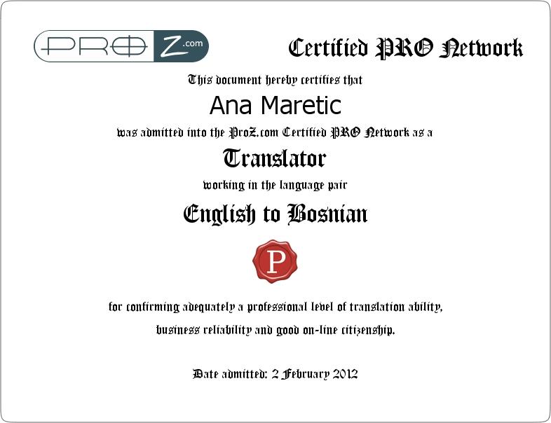 Professional English To Croatian Bosnian Translator