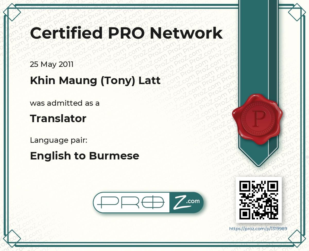 RESUME Translation proofreading and editing Burmese language
