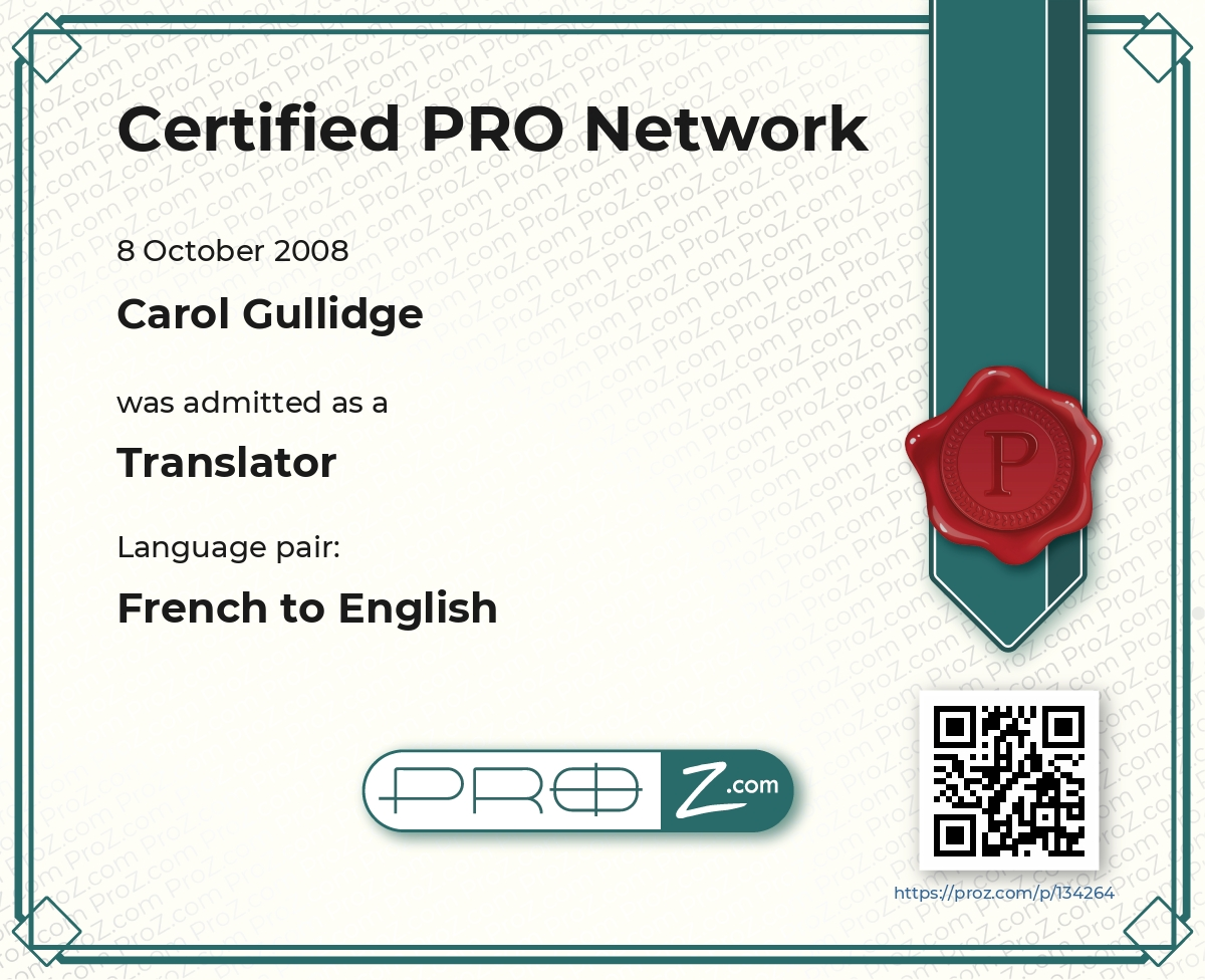 Carol gullidge french spanish to english specialising in proz certified pro certificates yelopaper Gallery