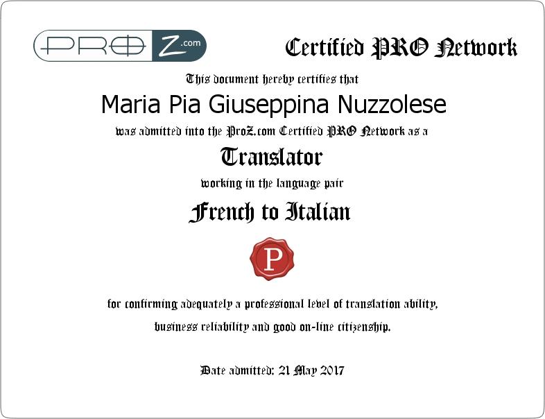 Translations Into Italian: Maria Pia Nuzzolese: English/French Into Italian Translator