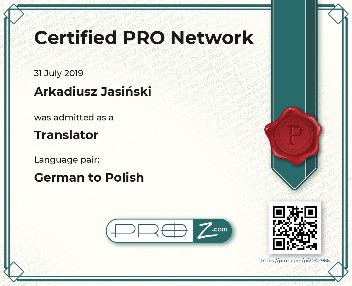 ProZ.com Certified PRO