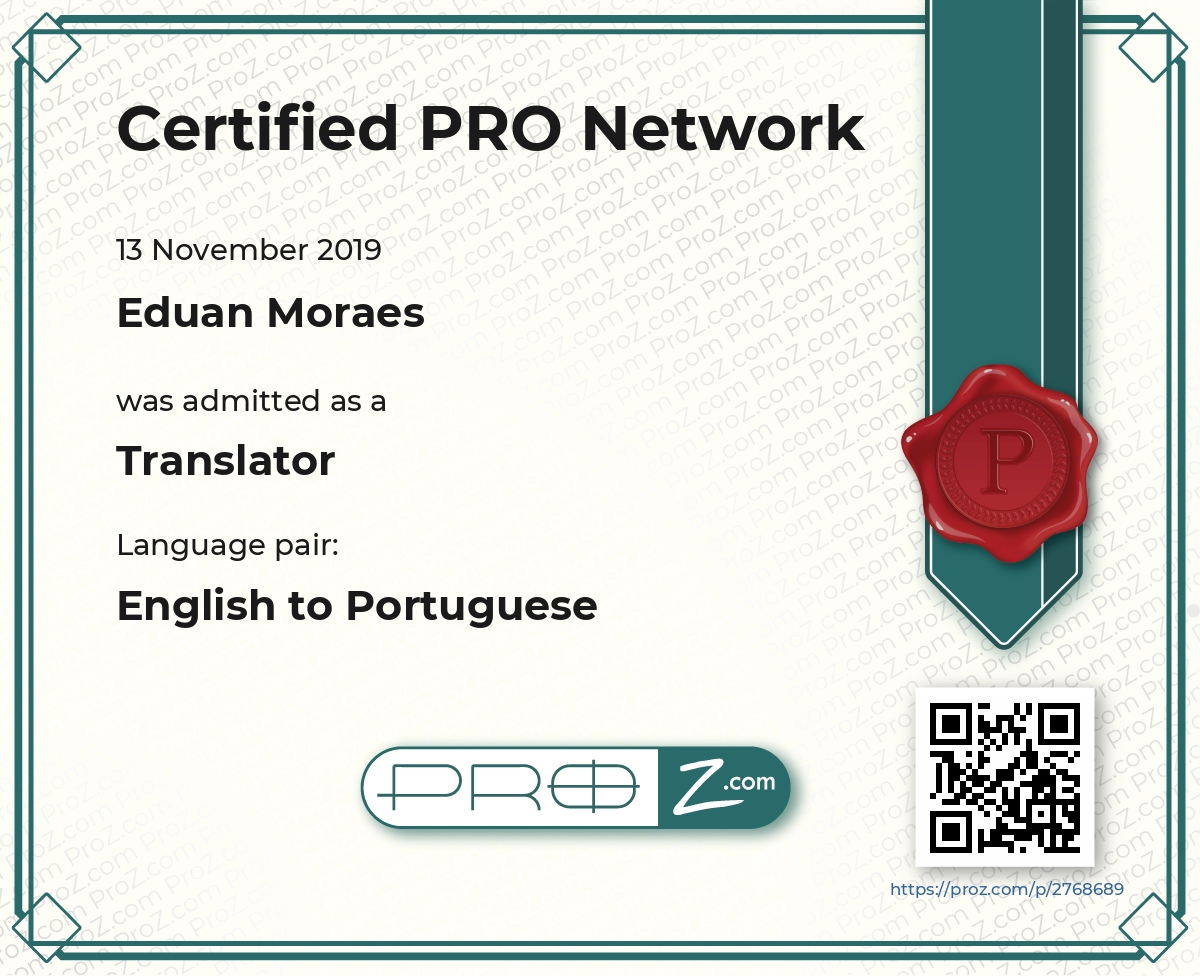 English to Portuguese - Proz.com Certified PRO