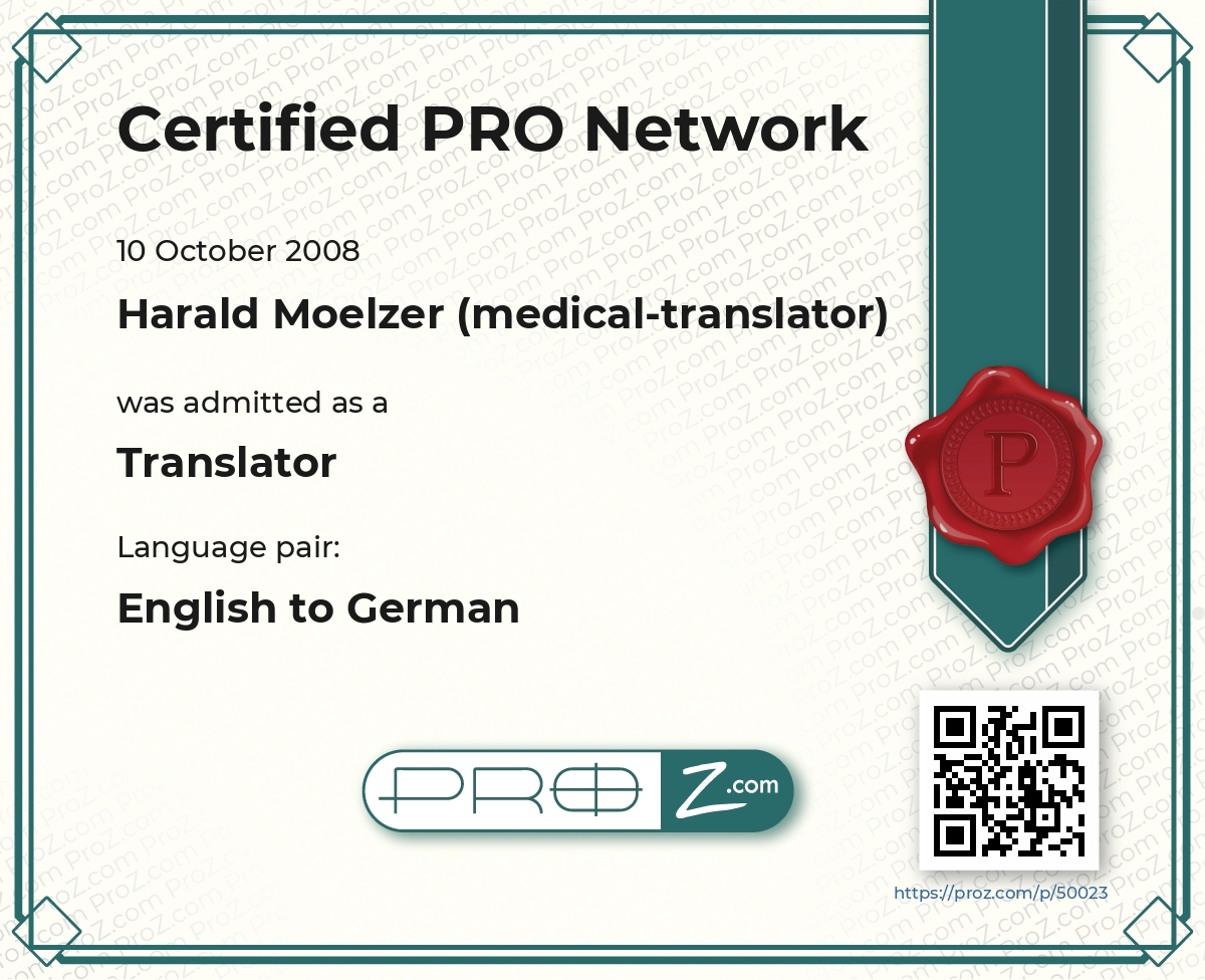 77bfebd234fe Harald Moelzer (medical-translator) - English to German translator ...