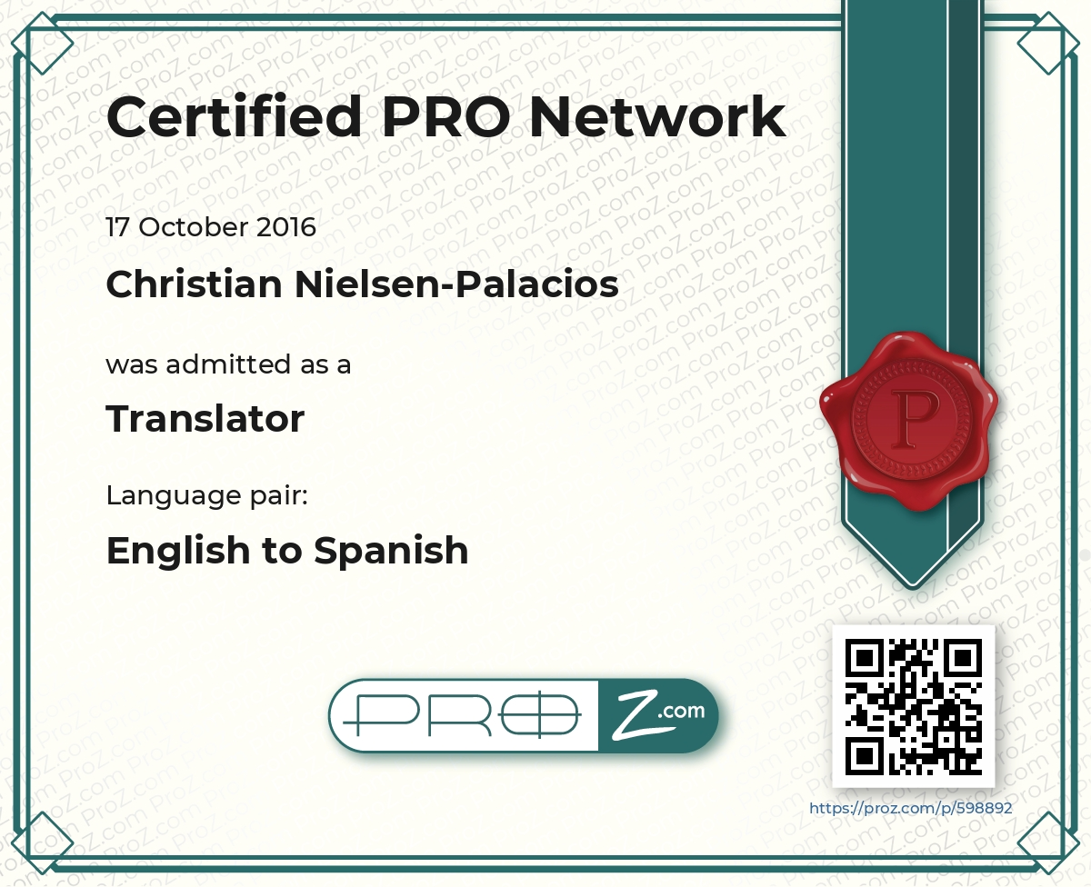 Christian Nielsen-Palacios - English to Spanish translator ...