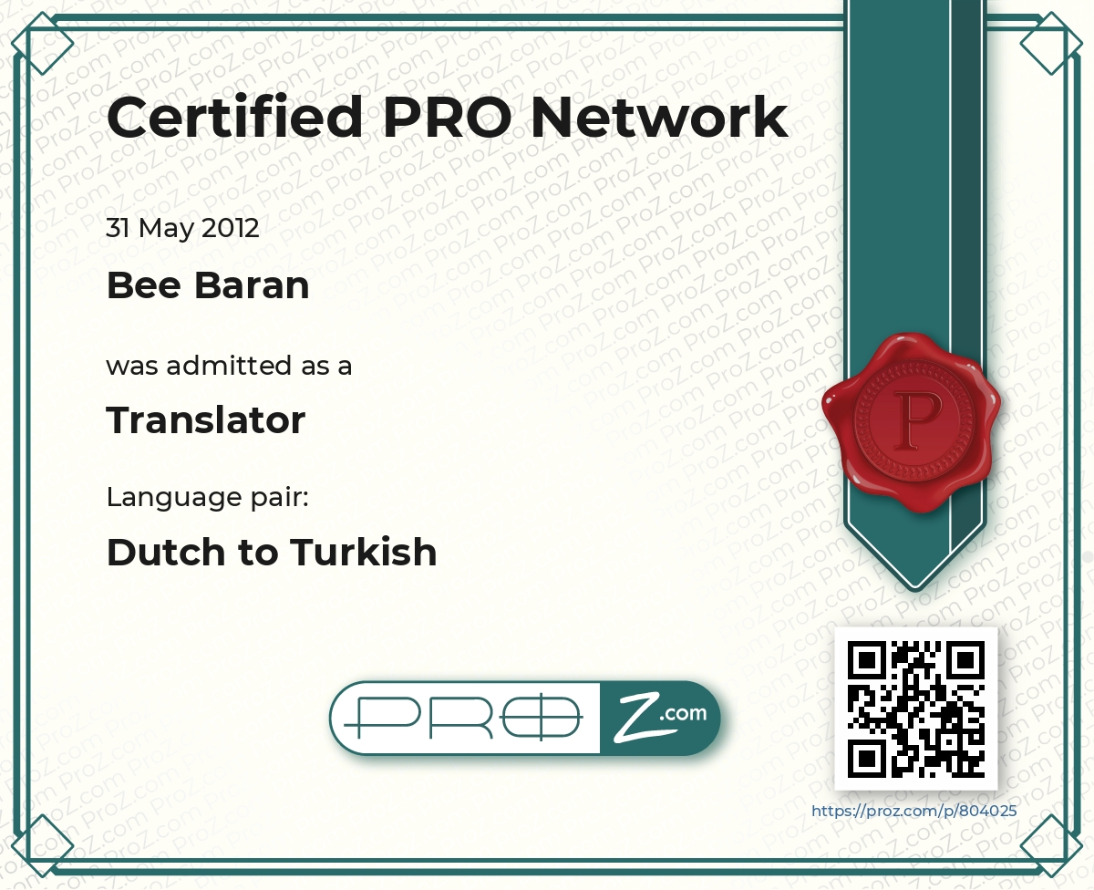 ProZ.com Certified PRO Certificate - Dutch to Turkish