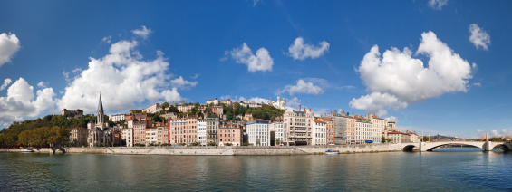 Panoramic view of Lyon waterfront